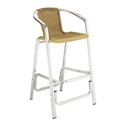 East End Imports - Bistro Bar Stool - Like a stylish cyborg, these bar stools perfectly marry the modern with the old school. A sturdy, futuristic metallic base gives way to a comfy, retro wicker seat. Perfect for when you want to step into the future but don't want to forget the past.