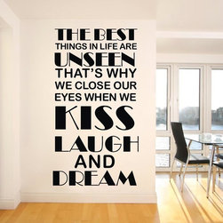 ColorfulHall Co., LTD - Home Wall Saying Decals The Best Thing In Life Are Unseen - You will find hundreds of affordable peel - and - stick wall decal designs, suitable for all kinds of tastes and every room in your house, including a children's movie theme, characters, sports, romantic, and home decor designs from country to urban chic. Different from traditional decals, vinyl wall decals is with low adhesive that allows you to reposition as often as you like without damaging the paint. Application is easy: peel offer the pre-cut elements on the design with a transfer film, and then apply it to your wall. Brighten your walls and add flair to your room is just as easy.