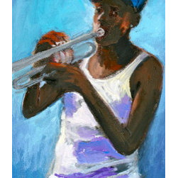 Hip Hop Trumpet (Original) by Linda Lesperance - Young boy playing trumpet in the streets of New Orleans