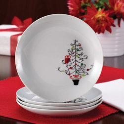 Rachael Ray - Rachael Ray Dinnerware 4-Piece Appetizer Plate Set - Hoots Decorated Tree - Tree - Shop for Dishes and Plates from Hayneedle.com! Bring festive flair to the holiday table with the Rachael Ray Dinnerware 4-Piece Appetizer Plate Set - Hoots Decorated Tree - Tree Pattern. These sturdy porcelain appetizer plates feature a merry motif of a Christmas tree bedecked with green and red ornaments and the adorable red Hoot perched on one of the branches. Use them to serve your favorite holiday appetizers snacks and desserts. Their size and vibrant design also make them perfect for serving cookies to Santa and his helpers! The appetizer plates mix-and-match with so many other coordinating and contrasting pieces and sets from Rachael Ray's holiday collections that eating and entertaining is a celebration from the get-go. And best of all because they are conveniently microwave and dishwasher safe you'll spend more time with your guests and away from the kitchen sink. About Rachael RayThis collection of fun functional colorful cookware is inspired and endorsed by TV personality Rachael Ray. Express yourself through your cookware with these truly unique pieces made with high-quality materials like cast iron and bright enamel exteriors. These hard-working pieces are perfect for all types of cooks from casual home users to commercial chefs and you'll love the way they look in your kitchen.