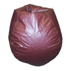 Bean Bag Boys - Bean Bag Boys Vinyl Bean Bag Chair in Burgundy - Pear-shaped design offers back support or rounded appearance as needed. Complies with voluntary CPSC Guidelines for zipper closures. 100% Recyclable Product. Product is Refillable Proudly made in the U.S.A. Double-Stitched with Clear Nylon for added Strength.