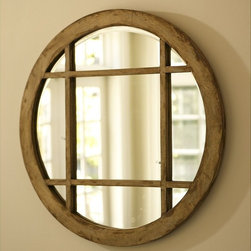 "Camille Mirror - Pottery Barn - Pottery Barn modeled this rustic wood frame after a picture window of a secluded auberge in the French countryside. A three-foot-diameter round aspect and interior grid make the mirror a unique focal point. Overall dimensions: 33.5"" diameter. Frame is made from solid mango wood."