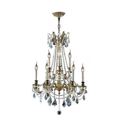 "Worldwide Lighting - Windsor 9 Light Antique Bronze Crystal Cast Brass Chandelier 23"" - This stunning 9-light Cast Brass Chandelier only uses the best quality material and workmanship ensuring a beautiful heirloom quality piece. Featuring a solid cast brass frame in antique bronze finish and all over clear crystal embellishments made of finely cut premium grade 30% full lead clear crystals, this chandelier will give any room sparkle and glamour. Worldwide Lighting Corporation is a privately owned manufacturer of high quality crystal chandeliers, pendants, surface mounts, sconces and custom decorative lighting products for the residential, hospitality and commercial building markets. Our high quality crystals meet all standards of perfection, possessing lead oxide of 30% that is above industry standards and can be seen in prestigious homes, hotels, restaurants, casinos, and churches across the country. Our mission is to enhance your lighting needs with exceptional quality fixtures at a reasonable price."