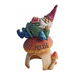 EttansPalace - Gnome Frog House Garden Statue - Welcome frogs, toads and all of nature's creatures to this imaginative gnome sculpture that doubles as prime garden real estate! Sculpted 360-degrees so you can admire delightful details including the arched front door, mushroom walls and a sleepy gnome greeter, our gnome sculpture is cast in quality designer resin before he and his mushroom home are hand-painted one piece at a time.