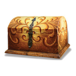 Koenig Collection - Old World Accessory Chest, Torched Fresco Brown - Accessory Chest, Torched Fresco Brown with Turquoise and Scrolls