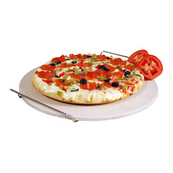 15-inch Ceramic Pizza Stone with Chrome Wire Holder