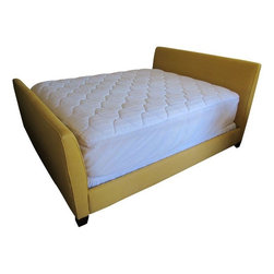 Used Lee Industries Upholstered Yellow Linen Bed - A sunny and cheerful bed, originally purchased at Cabana Home in Santa Barbara, CA.  It is made by Lee Industries and upholstered in a yellow linen Robert Allen fabric.  It is in like-new condition other than some slight fading on three of the bed corner tips.      Assembled Dimensions 75.5ʺW × 95.0ʺD × 46.25ʺH