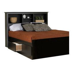 Prepac - Prepac Sonoma Black King Platform Storage Bed 4-Piece Bedroom Set - Prepac - Bedroom Sets - BSH8445PKG - Prepac Sonoma Black King Platform Storage Bed 4 Piece Bedroom Set