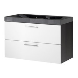 IKEA of Sweden/Francis Cayouette - GODMORGON/BREDVIKEN Sink cabinet with 2 drawers - Sink cabinet with 2 drawers, black-brown, white