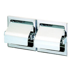 Geesa - Recessed Double Toilet Roll Holder with Cover - Toilet roll holder double with cover. Recessed and stainless steel finish. Toilet roll holder for a luxurious bathroom. Handsome toilet paper holder. High quality stainless steel, finished in chrome. Made by Geesa in Netherlands.