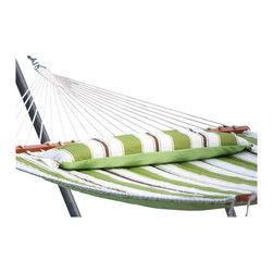 "Smart Solar - Santorini Premium Reversible Double Hammock - Green Stripe/Solid - Premium hardwood spreader bars. Hand oiled finish with burnished logo. 1/4 in three ply twisted rope hand woven and tied by professional craftsman. Custom quilted cotton fabric with 150 gr poly fill with pillow included. Reversible design allows plain or stripe design to be displayed. Extra large double size with a 500 lb capacity. Rust proof zinc plated hanging rings and hardware included. 80"" long bed between wooden spreader bars. 156"" long from ring to ring (without chains). 180"" long total (with chains). Fits all standard double hammock stands. Includes poly bag for convenient storage. Shown with Belize metal stand (sold separately)."