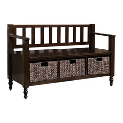 Simpli Home - Dakota 48 inch wide Entryway Bench in Dark Exeter Brown - You hate mess and clutter - especially in the entryway to your home.  We designed the Dakota Storage Bench to solve this problem. This dramatic bench allows you to add a designer touch to your home.  It provides plenty of storage  with its three large water hyacinth baskets and seats two people comfortably.  It is a great addition for your entryway or mudroom. .