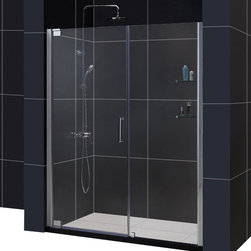 DreamLine - DreamLine SHDR-4156720-04 Elegance 56 1/4 to 58 1/4in Frameless Pivot Shower Doo - The Elegance pivot shower door combines a modern frameless glass design with premium 3/8 in. thick tempered glass for a high end look at an excellent value. The collection is extremely versatile, with options to fit a wide range of width openings from 25-1/4 in. up to 61-3/4 in.; Smart wall profiles make for an easy and adjustable installation for a perfect fit. 56 1/4 - 58 1/4 in. W x 72 in. H ,  3/8 (10 mm) thick clear tempered glass,  Chrome or Brushed Nickel hardware finish,  Frameless glass design,  Width installation adjustability: 56 1/4 - 58 1/4,  Out-of-plumb installation adjustability: Up to 1 in. per side,  Frameless glass pivot shower door design,  Elegant pivot mechanism and anodized aluminum wall profiles,  Stationary glass panel with two glass shelves,  Door opening: 27 3/4 in.,  Stationary panel: 24 in.