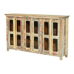 """Sierra Living Concepts - Paint Box Reclaimed Wood 72"""" Display Sideboard Cabinet - You will have easy access and a great view of your dishes, media or other items with our Paint Box Solid Hardwood 6-Door Cabinet. This rustic free standing cabinet is built with eco-friendly reclaimed wood from Gujarat. The colorful wood surfaces have been naturally seasoned over time. The end result is a beautiful blending of old wood colors, no extra paints or stains are added."""