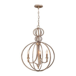 """Crystorama - Garland Chandelier - Chandelier with clear beads and Distressed Twilight finish. Takes 3 - 60 w/c bulbs. Chain: 72"""" Wire: 120"""""""