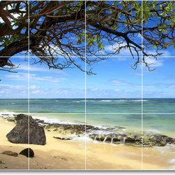 Picture-Tiles, LLC - Beach Scene Shower Tile Mural B061 - * MURAL SIZE: 24x32 inch tile mural using (12) 8x8 ceramic tiles-satin finish.