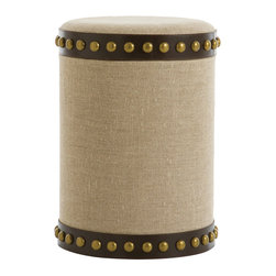 Dalia Stool - Chic upholstery in a sophisticated, goes-anywhere natural weave provides your room with neutral-toned appeal in the polished style of vintage furniture.  Made faintly equestrian by bands of brown leather, vaguely nautical by oversized antique brass studs, and undoubtedly useful by a removable top for storage, the Dalia Stool looks smart and trim at your vanity or as accent seating.