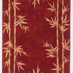 """KAS - KAS Sparta 3145 Bamboo Border (Red) 2'6"""" x 10' Rug - Our Sparta Collection in an exclusively designed line of hand-tufted carpets with an antique finish. These rugs are made in China using high-density Chinese wool. Classic and new designs in floral and other styles have been constructed using current color trends. These rugs are finished with an antique vegetable-dyed look and abrash effect. The combination of fresh color and design and the antique finish gives this collection unique trend-setting characteristics. No fringe."""