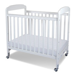 Foundations - Compact Hardwood Crib - Serenity - The crib was manufactured in 2011 or later and complies with the new federal safety standards issued by the CPSC. Made of Hardwood. Includes Professional Series 3 in. ultra-durable Antimicrobial mattress and 2 in. non-marking, ultra-quiet casters (2 locking). Adjustable, 2 position mattress board. High quality construction includes mortise and tenon joinery and high strength fasteners for superior durability. Solid Steel, SafeSupport crib frame has a lifetime warranty. Plastic teething rails protect child and crib. Crib has full 5 year warranty, with lifetime warranty on frame, casters and hardware. Some assembly required. 26.25 in. W x 39.15 in. L x 40 in. H (40 lbs.). Crib Safety: ivgStores cares about the safety of the products we sell especially for your new little one. We work closely with our manufacturers and only carry those items which meet or exceed federal and state laws. If you are considering buying a new crib or even using a previously owned or heirloom crib, we recommend you visit  cribsafety.org to learn more about crib safety.There are reasons why Serenity cribs are the most widely used cribs in US child care facilities. Color coordinated finishes are matched with hardware and casters for added beauty. Fixed-side crib features a lower profile, providing easier accessibility to infant while reducing back strain for caregiver. Crib may be used with optional First Responder Evacuation System, not included. JPMA certified.  Foundations uses only wood certified to having been harvested with safe and responsible forestry practices and all products comply with the PEFC certification seal.