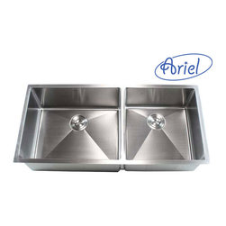Ariel - 42 Inch Stainless Steel Undermount Double Bowl Kitchen Sink 15mm Radius Design - Product features: