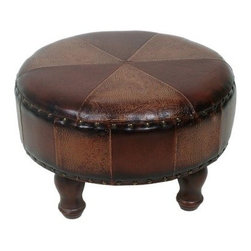 Seville 25 in. Round Large Faux Leather Stool - The Seville 25-Inch Round Large Faux Leather Stool will get used as a footstool for an extra seat or as a casual table. This 14 inch-tall stool is just the right height for a variety of uses and has a unique look perfect for matching any style room. It has four curvy wooden legs a thickly cushioned round top covered in a handsome faux leather pattern accented by nail head trim. High style meets multi-use design!