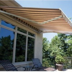 "SunStopper Simply Shade 16 x 10-ft. Manual Retractable Awning - Keep cooling costs down and summer enjoyment high with the SunStopper Simply Shade 16 x 10-ft. Manual Retractable Awning. The manual retractable awning features 100% solution-dyed acrylic fabrics for a long fade-resistant life, protecting you and your belongings from the sun's UV rays. This entry-level unit is designed for residential use with a 10-foot projection. With features like virtually invisible hems, reduced fabric fraying, and leak protection, the Simply Shade unit is ideal for on-demand sun protection on a budget. Thanks to the twin stainless steel arm cables and an internal steel spring, the awning's arm tension system is guaranteed to stay strong for years and years. The fabric patterns are the same color on both top and bottom, so regardless of how you look at the awning, the pattern or color is the same. Dark-colored fabrics tend to radiate heat while also darkening the space, and lighter colors and stripes will retain less heat and maintain a better light balance. Three-year limited warranty. Dimensions: 188W x 120D x 8H inches.About SunStopper ShadingHand crafted in upstate New York, SunStopper Shading produces quality awnings at affordable prices. These are not the low cost, low quality imports you'll find all over the internet. SunStopper retractable awnings are made of top-quality components, and American woven 100% acrylic fabrics for long-lasting, durability. Your awning comes fully assembled and ready to install. SunStopper awnings dramatically reduce the harmful effects of the sun while controlling natural light and glare. They're also a """"green"""" solution to reducing your cooling costs."