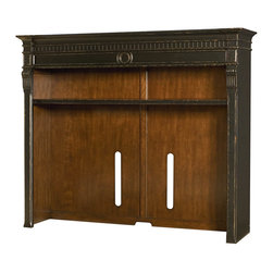 "Hammary - Dorset Entertainment Console Hutch - ""High-style with a touch of grandeur, this collection is sure to make an impression in any home. Larger scaled items that make a beautiful impact. Crafted of Cathedral Cherry Veneers, Paint Grade Solids & Light Emperador Stone. Black with Natural Rub-Through Finish."