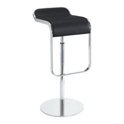 """LexMod - LEM Leather Bar Stool in Black - LEM Leather Bar Stool in Black - The LEM Style Bar Stool has sleek lines that would be equally impressive in a restaurant or at home. Our premium version has a high quality Italian leather seat. Perfect for entertaining guests at restaurants, your home bar, or for stylish seating around the kitchen counter. Set Includes: One - LEM Bar Stool Italian Leather Upholstery, Stainless steel base, Chrome plated steel piston, Adjustable Height from 27"""" - 31"""", 360 Degree Swivel Overall Product Dimensions: 14""""L x 16""""W x 28.5 - 33""""H Seat Height: 13""""L x 16""""W x 27 - 31.5""""Hbrase Dimensions: 14.5""""L x 14.5""""W - Mid Century Modern Furniture."""