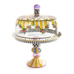 Striped Awning Cake Dome & Stand Set   MacKenzie-Childs - Storybook style that's sunny, smart, and bold. Awning stripes and a garland of roses and greenery, hand-painted on glass, decorate this extraordinarily romantic cake dome, with accents of Courtly Checks, gold lustre, and sprightly dots. Coordinating stand provides a proper pedestal for your finest baked creations.