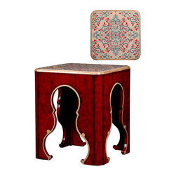 French Heritage - Tarascon Flower End Table - Escape to exotic lands without leaving your home. Evocative of a classic Ottoman Empire design, this side table will add a hint of foreign mystique to your traditional living room.