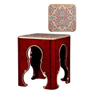 French Heritage - French Heritage Tarascon Flower End Table - Escape to exotic lands without leaving your home. Evocative of a classic Ottoman Empire design, this side table will add a hint of foreign mystique to your traditional living room.