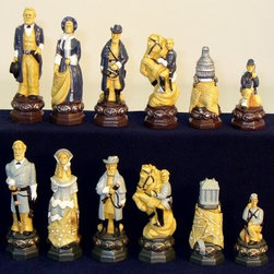 Royal Chess Civil War Painted Resin Chess Pieces - The Royal Chess Civil War Painted Resin Chess Pieces include historical figures Ulysses S. Grant and General Robert E. Lee playing out the struggle between North and South. Each of these large pieces is crafted from carefully hand-painted resin and to deliver an unprecedented level of detail that's sure to be appreciated by the history buff. Kings stand 5 inches tall with 1.5-inch base and, like all pieces in this set, has a felt lined bottom that protects your board from scratches. About WorldWise Imports:Specializing in retail and online merchants, Worldwise Import founder Cheryl Stern has assembled a team that has the experience necessary to import the very best international products. Since 2001, the team has traveled the world to find and supply the finest in chess, backgammon, cribbage, and other traditional games, as well as some exotic and not so traditional games. Worldwise Imports' commitment to excellence has helped it become a leader in world import markets.