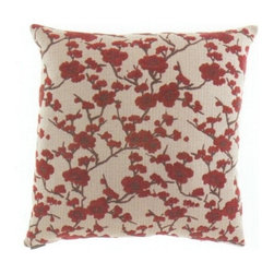 "Canaan - 24"" x 24"" Kyoto Red Blossom Leaf Pattern Fabric Throw Pillow - 24"" x 24"" Kyoto red blossom leaf pattern fabric throw pillow with a feather/down insert and zippered removable cover. These pillows feature a zippered removable 24"" x 24"" cover with a feather/down insert. Measures 24"" x 24"". These are custom made in the U.S.A and take 4-6 weeks lead time for production."