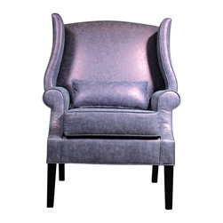 Madera Home - Paris Italian Plum Occasional Chair - The Paris chair is a curvy beauty!  Stunning in a metallic plum cotton blend fabric, it has a very unique subtle sheen with dark legs.
