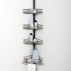 Zenith Products - Zenith E2132HB Tub and Shower Tension Pole Caddy - Oil Rubbed Bronze - E2132HB - Shop for Shower and Tub Caddies from Hayneedle.com! The Zenith E2132HB Tub and Shower Tension Pole Caddy - Oil Rubbed Bronze transforms your wasted corner space into a valuable storage area.About ZenithZenith Products Corporation is America's leading manufacturer of bathroom storage and organizational products for the retail market. Zenith offers a wide line of items and accessories that are both attractive and functional. Customers can choose from bath furniture in a variety of finishes materials sizes and designs. These products are complemented by matching space-savers tank-toppers and storage items that enable homeowners to make maximum use of bathroom space. Zenith helps decorate and organize bath and shower enclosures with its patented Twist-Tight curtain rods and broad range of shower caddies and lotion dispensers available in a wide array of styles and colors. Based in New Castle Del. Zenith products are distributed nationwide through home centers bath specialty shops mass merchants and catalog retailers.