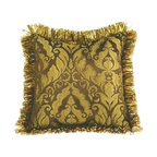 "Canaan - Fantasia Gold Damask Pattern Print 20"" x 20"" Throw Pillow - Fantasia Gold damask pattern print 20"" x 20"" throw pillow with ribbon loop trim. Measures 20"" x 20"" made with a blown in foam. These are custom made in the U.S.A and take 4-6 weeks lead time for production."