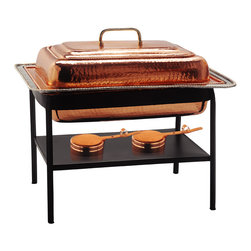 "23"" x 13"" x 19"" Rectangular Décor Copper over S/S Chafing Dish,8 Qt. - for trend setting serve ware worthy of the finest table look no further than this elegant chafing dish. The hand-hammered bright copper finish and black iron stand elevate your gourmet fare to a new level. The 8 Qt. stainless steel food pan is held over a temperature-moderating water pan. The adjustable gel-fuel burner keep everything at the ideal temperature without drying out.   Oven- and dishwasher safe stainless steel food pan. All other parts wipe clean. Adjustable fuel holder takes standard ""Sterno"" type gel fuel canisters (not included)."
