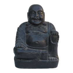 Golden Lotus - Chinese Hand Carved Sitting Happy Buddha Stone Statue - This sitting Happy Buddha statue is made of solid stone and hand carved in a round. The carving is very detailed and precise.