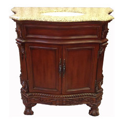 "Single Bathroom Sink, Cherrywood Finish, 28""w X 21""d X 35""h - Traditional style single vanity for bathrooms. Includes a solid marble countertop and under mount sink. The cabinet is made of birch wood, and is stained in a cherry wood finish. Three holes are pre-drilled for faucet installation."