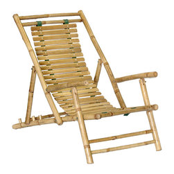 Bamboo54 - Bamboo Recliner - Set of 2 - Create the feel of your favorite island getaway in your home or covered patio with this Bamboo Recliner. Available as set of two, this recliner offers adjustable height, plus round legs, slatted back and seat and side support rings. Their frames are crafted from rustic bamboo pole in its own natural shade, cradling curved, slatted seats. This chair brings the best in lounging with its durable, strong wooden structure and four different sitting positions. The Bamboo Recliner also folds flat for easy storage. Take comfort in bamboo with the recliner chair by Bamboo54.
