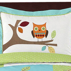 Sweet Jojo Designs - Hooty Turquoise and Lime Pillow Sham by Sweet Jojo Designs - The Hooty Turquoise and Lime Pillow Sham by Sweet Jojo Designs, along with the  bedding accessories.