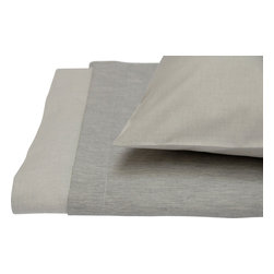 Area Inc. - Jewel Gray King Fitted Sheet - Area Inc. - Give your king size bed a soft, neutral update using the Jewel Gray Fitted Sheet. Made from 100% reversible cotton sateen in gray and light gray, this sheet complements both bright and subdued color schemes. Pair it with the Jewel Gray Duvet Cover for a clean, monochromatic look.
