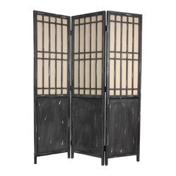 Oriental Furniture - 6 Ft. Tall Vintage Lattice Room Divider - Tall three-panel folding screen with a traditional Asian style lattice above opaque paneling. Kiln-dried wood frame is finished in a rustic matte black with white raindrop accents on paneling and lattice frame. Semi-transparent cotton fabric screen allows some light and shadow to pass through. Black two-way hinges allow screen to stand independently. Lattice on front side of screen only.Rustic three panel Asian lattice room dividerFinished in a matte black with visible brush strokes and white raindrop patternTraditional Asian lattice on front side of screenCotton fabric screen allows some light to passBlack metal two-way hinges