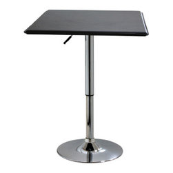 New Buffalo Corp. - AmeriHome Square Adjustable Height Table - The AmeriHome Square Adjustable Bar Table makes a great addition to your kitchen, bar, game room, or basement. Featuring a polished chrome base that is accented with a black vinyl top for a hint of classic vintage design. The tabletop measures 25 in. square with a textured vinyl covering for wiping up spills easily.