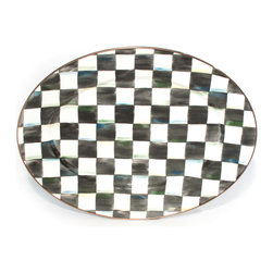 Courtly Check Enamel Oval Platter - Medium | MacKenzie-Childs - A welcome gift for the Courtly Check® collector, the Courtly Check® Medium Oval Platter is a great addition to the dinner or buffet table. Hand-painted checks reveal a spectrum of accent colors. Steel underbody and bronzed stainless steel rim.