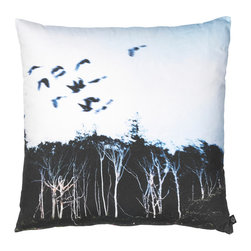 By Nord Copenhagen - Trees and Birds Decorative Pillow - Dramatic and a bit moody, with great detail. Printed as a digital photo print on a cushion in the recognized cotton canvas quality from Danish firm By Nord. Imported from Denmark.