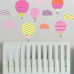 The Lovely Wall Co - Girls Hot Air Balloon Wall Decals, Bright - Girls - High in the Sky Hot Air Balloons - Wall Decal