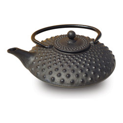 "Matte Black Cast Iron ""Amity""  Teapot, 26 Oz. - Cast Iron ""Amity"" Teapot – Matte black finish. Graceful, elegant cast iron Tetsubin teapot crafted in the Japanese style.  Inspired by highly prized antique Japanese cast iron teapots still in use today. Features an enamel interior coating that helps prevent rust Includes a stainless steel tea brewing basket for ease of preparation.  For brewing and serving tea. Not intended for stovetop use. 26 oz.. capacity Hand Wash"