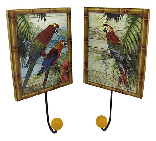 Zeckos - Set of 2 Tropical Parrot Wall Plaques with Coat Hooks - This pair of wooden plaques is pretty as well as practical, serving as an accent to your tropical decor while providing a place to hang your hat, coat, or purse. Each piece measures 10 inches long (including the hook), and 5 1/4 inches wide. They easily mount to the wall with a single nail or screw by the picture hanger or wire on the back. These plaques look great displayed in homes, offices, or hotels with a tropical vibe.