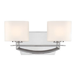 "Possini Euro Design - Columbus Avenue 14"" Wide Chrome Bathroom Light Fixture - Two lights are shaded by stately etched white glass in this chrome bathroom light fixture from the Columbus Avenue collection. A curved arm secures the two lights together in front of a modified rectangle wall plate all in sleek chrome finish. A straight accent bar underscores the white glass. Chrome finish metal. Etched white glass. Includes two 50 watt G9 bulbs . 5 3/4"" high. 14"" wide. Extends 4 1/2"".  Chrome finish metal.   Etched white glass.    Includes two 50 watt G9 bulbs.   5 3/4"" high.   14"" wide.   Back plate 7"" wide x 4 1/2"" high."